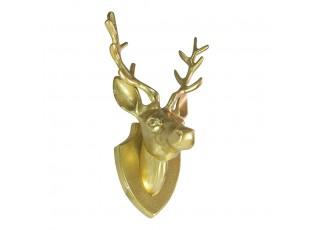 Zlatá nástěnná kovová hlava jelena - 19,5*16*33cm