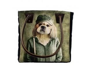 Sametová kabelka s koženými uchy mr. Dog - 32*30*19cm