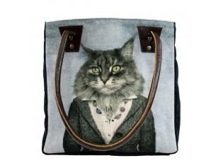 Koženo-bavlněná kabelka paní kočka - 32*30*19cm