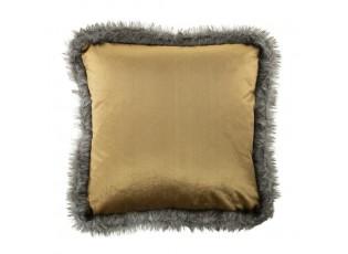 Měděný sametový polštářek lemovaný kožešinou Copp - 45*45*10cm