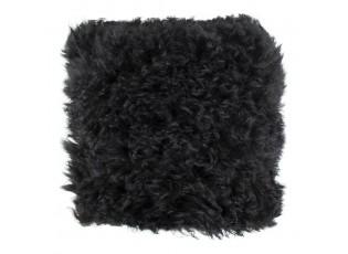 Kožený polštář ovčí vlna černá  - 40*40*10cm