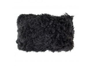 Černý polštář z dlouhé ovčí kůže  - 50*30*10cm
