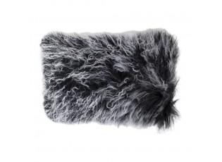 Polštář bílá/černá ovčí kůže kudrnatý dlouhý chlup Curly - 50*30*10cm