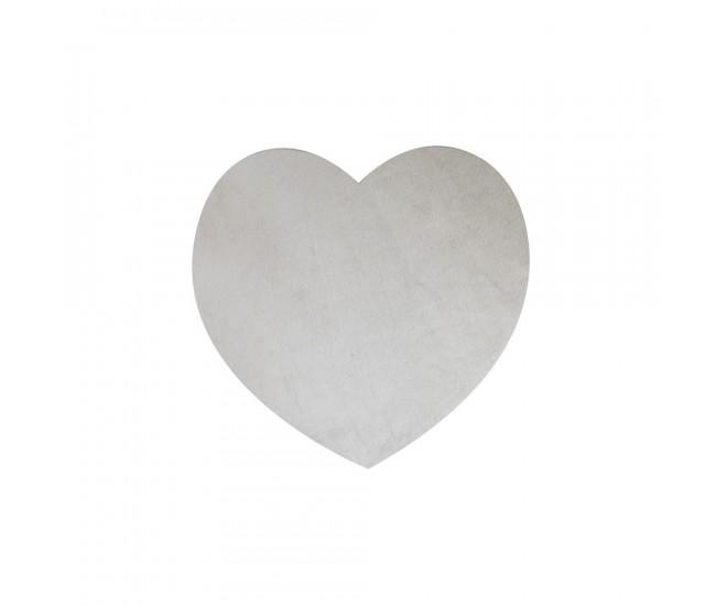 Šedý kožený podtácek ve tvaru srdce - 14*14*0,3cm