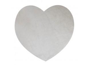 Šedé prostírání z hovězí kůže ve tvaru srdce (bos taurus taurus) - 37*39*1cm