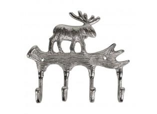 Stříbrný nástěnný věšák s jelenem Brudy - 19*3,5*22cm