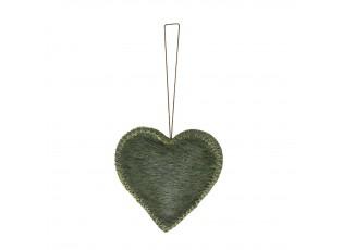 Malá závěsná dekorace zelené srdce z hovězí kůže - 6*6*1,5cm