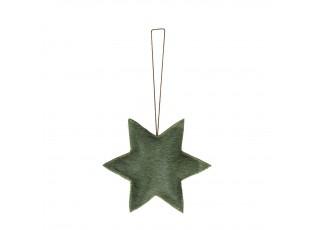 Malá závěsná dekorace zelená hvězda z hovězí kůže  - 7*7*0,8cm