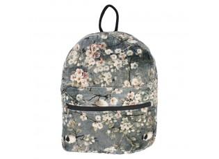 Šedý květovaný sametový batoh Birdi - 30*12*35cm