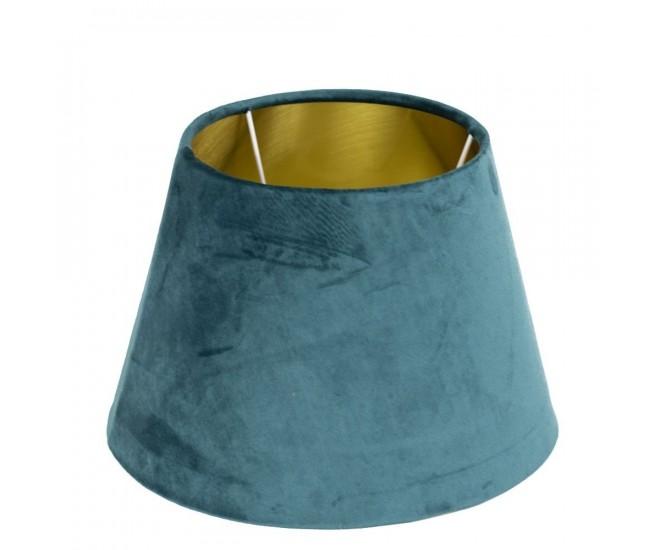 Sametové petrolejové stínidlo se zlatým vnitřkem Petrol - Ø30*21cm/ E27