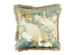 Sametový polštář bílý jeřáb se zlatými třásněmi - 45*45*10cm