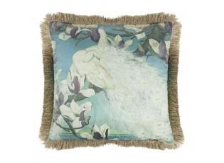 Sametový polštář bílý páv se zlatými třásněmi Frill - 45*45*10cm