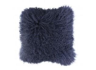 Polštář modrá ovčí kůže kudrnatý dlouhý chlup Navy Curly - 40*40*10cm