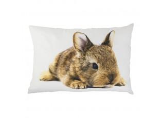 Bílý bavlněný polštář s králíčkem Rabbi  - 50*35*10cm