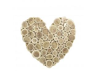 Hnědé dřevěné srdce Natur M - 58*53*2,5cm