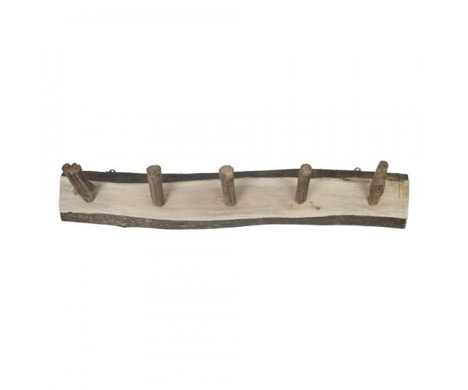 Dřevěný věšák s 5-ti háčky - 73*12*13cm