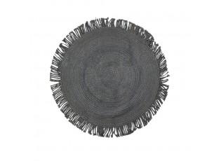 Černý jutový koberec s třásněmi Fringi - Ø120*1cm