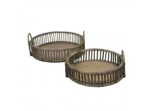 Set 2ks ratanových kulatých podnosů - Ø 50*13cm