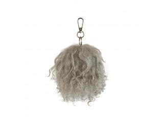 Klíčenka šedá koule z ovčí vlny - 13cm