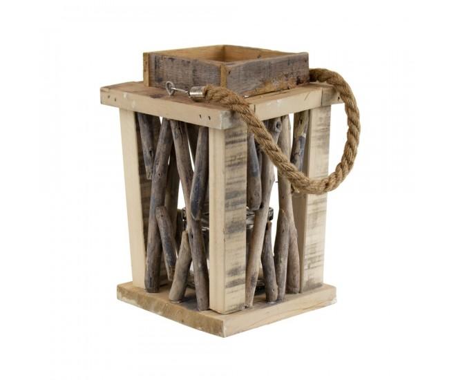 Přírodní dřevěná lucerna Mitt - 21*21*31cm
