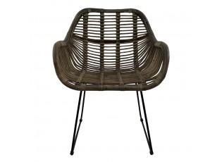 Šedá ratanová jídelní židle s madlem Dinni - 65*58*88cm