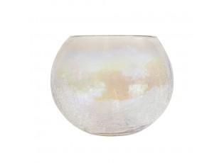 Skleněný duhový svícen s popraskanou strukturou - Ø15*12cm