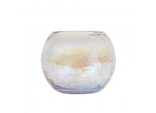 Skleněný duhový svícen s popraskanou strukturou - Ø 12*10cm