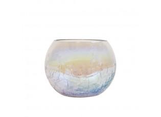 Skleněný duhový svícen s popraskanou strukturou - Ø10*8 cm