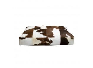 Kožený sedací polštář z kravské kůže bílá/hnědá - 100*70*15cm