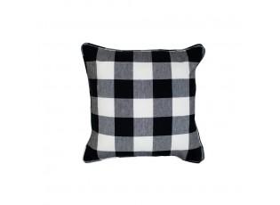 Černo-bílý bavlněný kostkovaný polštář - 40*40*10cm