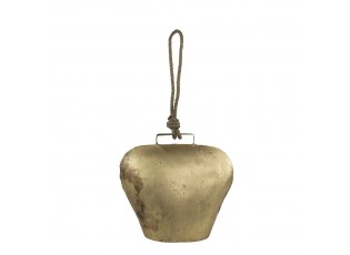 Zlatý kovový zvonek ve tvaru kravského zvonu - 40*20*20cm