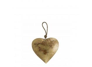 Dekorace závěsné zlaté retro srdce na provázku - 24*13*13cm
