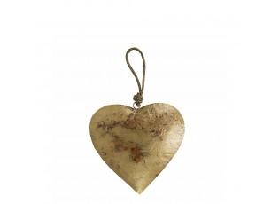 Dekorace závěsné zlaté retro srdce na laně - 30*18*18cm