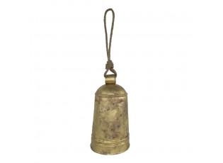 Veliký zlatý plechový zvon s dřevěným srdcem Vanni - Ø22*40cm