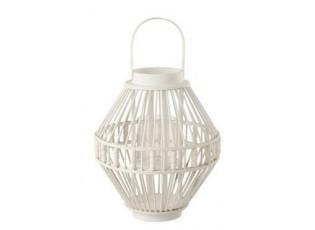 Bílá lucerna z bambusového dřeva Nacre L - Ø 38*41 cm