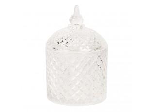 Skleněná dekorovaná dóza na cukr s víkem – Ø 10*14 cm