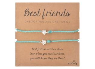 Modrý korálkový náramek s hvězdičkou Best friends