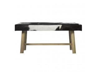 Dřevěná lavice s koženým sedákem Cowny bílá/černá - 95*40*45cm