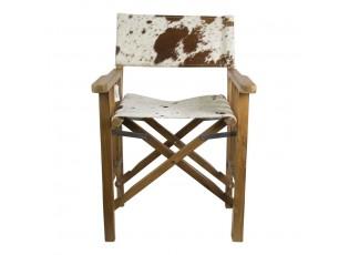 Dřevěné kožené režisérské křeslo skládací Cowny - 58,5*57*84 cm