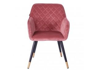 Sametově růžová jídelní židle Davanti - 50*58*86 cm