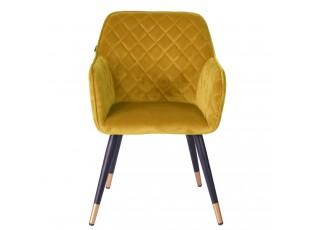 Sametově žlutá jídelní židle Davanti - 50*58*86 cm