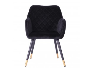 Sametově černá jídelní židle Davanti - 50*58*86 cm