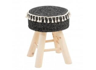 Černá stolička se střapci Round - 35*30*41 cm