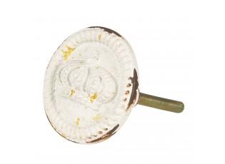Bílá kovová úchytka s korunkou -  Ø 4*6 cm