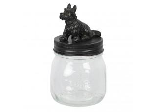 Skleněná dóza s černým víčkem s dekorací psa – Ø 8*14 cm