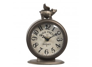 Kovové stolní hodiny Farm fresh market - 12*6*17 cm / 1*AA