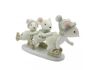 Dekorace myšky na bruslích - 12*4*7 cm