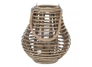 Šedohnědá dřevěná lucerna Milli - Ø 26*28 cm