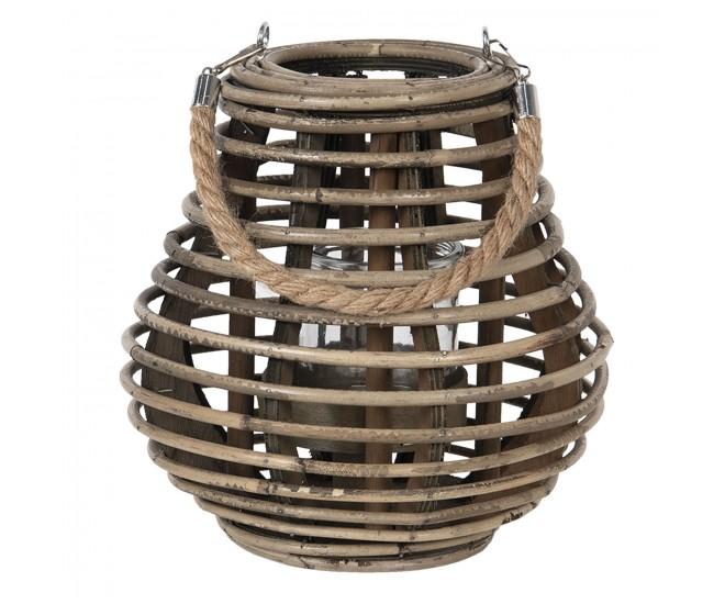 Šedohnědá dřevěná lucerna Milli - Ø 23*23 cm
