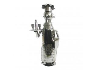 Kovový držák na víno v designu číšníka Chevalier - 17*13*36 cm